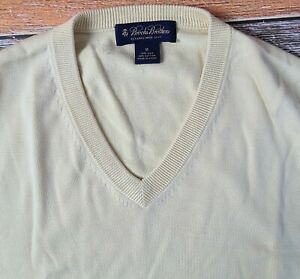 Brooks Brothers Men's Silk Cotton Blend V-Neck Sweater Jumper Sz Medium Yellow