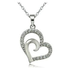 Sterling Silver Created White Sapphire Double Heart Necklace