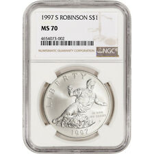 1997-S US Jackie Robinson Commemorative BU Silver Dollar - NGC MS70