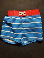 Cat and Jack 9M Boys Swim shorts Trucks Blue with white stripes