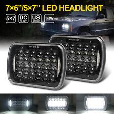 2pcs 5x7 7x6 Hi-Lo LED Headlights Beam DRL Square Light For Jeep Cherokee XJ YJ