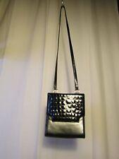 sac vintage Bruno MAGLI cuir noir façon croco et cuir noir