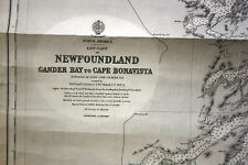 NEWFOUNDLAND COAST ANTIQUE SEA CHART MAP - USED & WELL WORN & VERY RARE