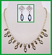 Vintage Crystal and Simulated Gray Pearl Necklace and Earring Set