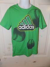 Adidas Baseball Green Poly Athletic Short Sleeve Shirt Size 6 Boy's Euc