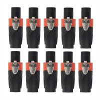 10 Pcs Lot Male 4-Pole Conductor Cable Connector for SPEAKON Audio Loudspeaker