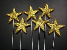 Gold Stars On Wire Edible Sugar Cake Toppers -Each $1