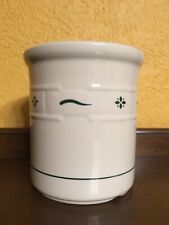 Longaberger Pottery Woven Traditions Heritage Green Large Utensil Crock