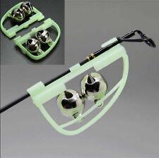2x Fluorescent Glow Light Night Fishing Rod Tip Clip Twin Bell Alarm Alert Ring