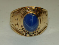 Estate 14K United States Airforce Linde Sapphire Men's Military Ring - Size 10