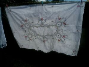 "A GORGEOUS WHITE COTTON HAND CROSS STITCHED/CROCHET LACE TABLECLOTH 64"" X 46"""
