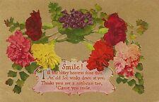 CARTE POSTALE POST CARD FANTAISIE GAUFREE FLEURS FLOWERS SMILE
