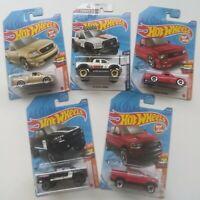 Hot Wheels Lot of 5 Cars w/ Ford F150 SVT Lightning, Toyota Tundra 1/64 2020 P