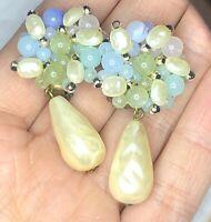 Beautiful Pastel Green Blue & Faux Pearl Dangle Drop Gold Tone Clip Earrings