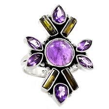 Amethyst & Green Tourmaline 925 Sterling Silver Ring Jewelry s.6.5 SR214443