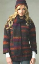 Womens Chunky Knit Sweater - Jumper Hat & Scarf Knitting Pattern 32-42 inch