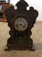 Antique Vintage Waterbury Clock Co Wood Mantel Clock