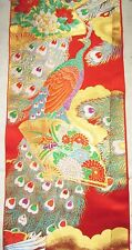 Vintage Japanese Uchikake Wedding Kimono Fabric Peacock Golden Fan Flowers