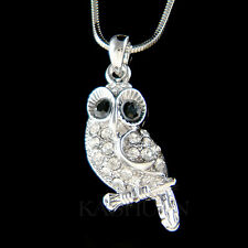 w Swarovski Crystal ~Barn Owl Wise Teacher Bird Charm Chain Necklace Jewelry New