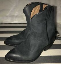 Frye Women Short Ankle Cowboy Cowgirl Western Boots Pull On Black Pointy Sz 6