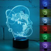 7 Couleur Poisson 3D LED Veilleuse Acrylique Visuel Lampe Tactile Enfants