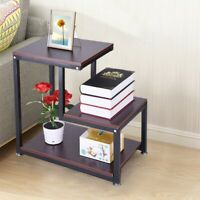 3-Tier Layer Rustic End Table Chair Side Table Night Stand Storage Shelf - USA