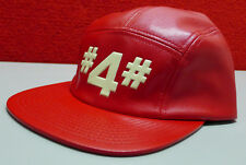 NEW Hall of Fame #4# Strap Back Cap Red Faux Leather Hat 2nd Sucks $49.99