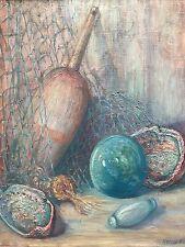 Nautical Still-Life w/ Abalone Shells & Net by Rowena Alcorn, Signed Original