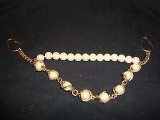"""Gold Tone Chain & Pearl 8"""" Sweater Guard/Clip/Collar Clip"""