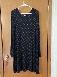 Old Navy Women's Long Sleeve Midi Swing Dress Size Medium M Black Polka Dot