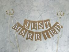 JUST MARRIED Vintage Cake topper Bunting Hessian Burlap Lace