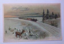 """""""Neujahr, Lokomotive, Eisenbahn, Rehe, Winterlandschaft""""  1920 ♥ (53116)"""