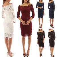 Women Elegant Off Shoulder Long Sleeve Bodycon Evening Cocktail Party Lace Dress