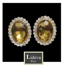 Luxus Ohrclips Clips Ohrringe Oval Kristall Strass Lideva Paris Amber