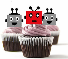 ✿ 24 Edible Rice Paper Cup Cake Topper, decorations - Robots ✿