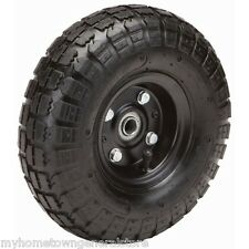 """Four (4) 10"""" 10 in. Haul-Master Pneumatic Tires on Black Wheels - 4.10/3.50-4"""