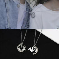 2pcs/Set Couples Silver Plated Elk Lover's Animal Pendant Necklace Jewelry Gi s/