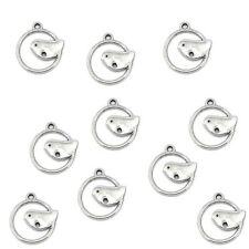 Bird Charm  Tibetan Silver Pendants On Ring  Pack of 20