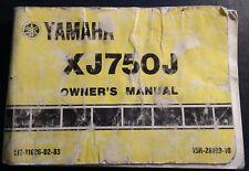 1982 YAMAHA MOTORCYCLE XJ750J OWNERS MANUAL LIT-11626-02-83 (410)