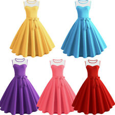 Womens Vintage Bodycon Sleeveless Evening Party Cocktail Prom Skater Swing Dress