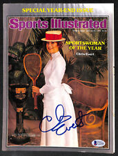 SIGNED AUTOGRAPHED CHRIS EVERT TENNIS SPORTS ILLUSTRATED SI COVER BECKETT BAS