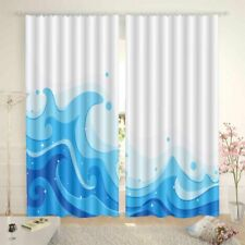 Blue Level Pace Wave 3D Curtain Blockout Photo Printing Curtains Drape Fabric