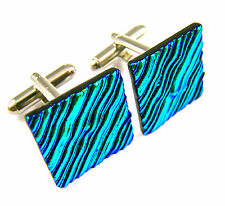 Cuff Links DICHROIC Fused GLASS Green Lime Ripple Striped Mens Formal Wear