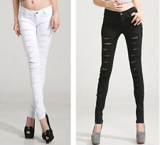 WOMENS STRETCH RIPPED SKINNY SLIM DENIM JEANS LEGGINGS TROUSERS SIZE UK6/8/10/12