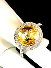 DAZZLING JEAN DOUSSET 925 STERLING CANARY YELLOW CUBIC ZIRCONIA COCKTAIL RING