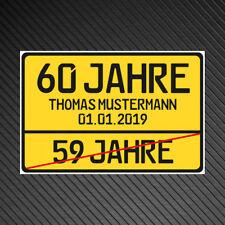 Schild 60. Jahre Geburtstag Personalisiert Geschenkidee Geschenk Platte 30x20cm
