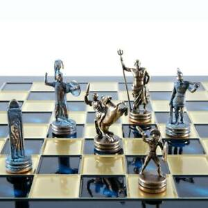 Manopoulos Greek Mythology Chess Set - Blue Copper Pawns - Blue chess Board