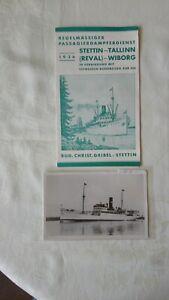 Sammeln- Seltenes -Transport -Schifffahrt -Stettin -Talli,1 Prospekt ,1 AK ,1936