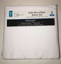 Mainstays White 3 Piece Soft Smooth Microfiber Wrinkle Resistant Twin Sheet Set