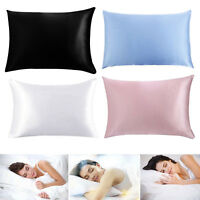 100% Queen Standard Satin Silk Soft Mulberry Plain Pillowcase Cover Hair Beauty